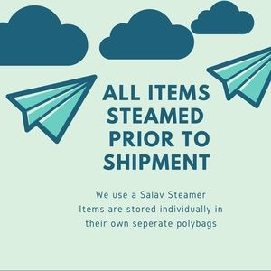 All clothing items are steamed prior to shipment